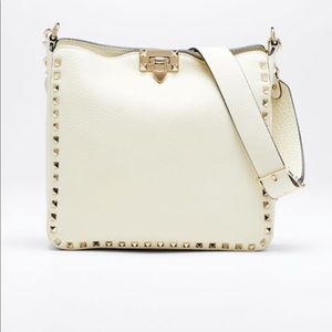 Valentino Ivory Grainy Large Crossbody Hobo Bag